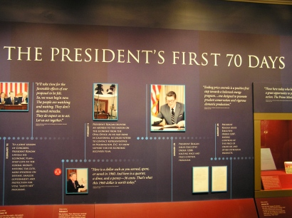 "Reagan's first 70 days as president are preserved in the ""Victory & Inauguration"" exhibit."