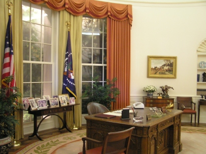 Like many presidential libraries, Reagan's preserves a replica of his Oval Office.
