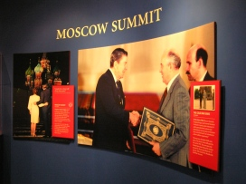 "The ""Summits"" exhibit details Reagan's meetings with Soviet premier Mikhail Gorbachev."
