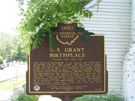 Front side of the state historic marker outside of the Grant birthplace.