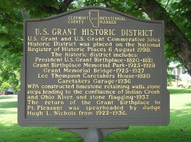 A marker details the addition of the U.S. Grant Historic District to the National Register of Historic Places in 1998.