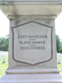 Section of the column detailing the battles Taylor fought in during the War of 1812, the Black Hawk War, and the Second Seminole War.