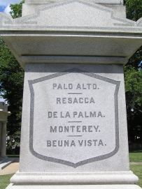Section of the column detailing the battles Taylor fought in during the Mexican-American War.