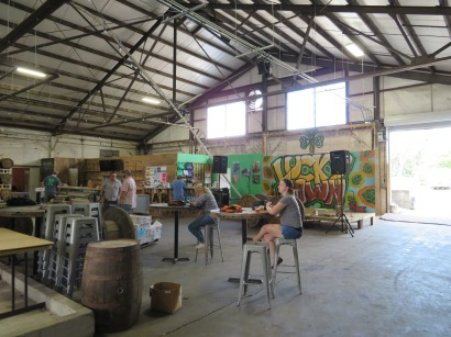 An overview of the Lucky Town Brewing taproom.