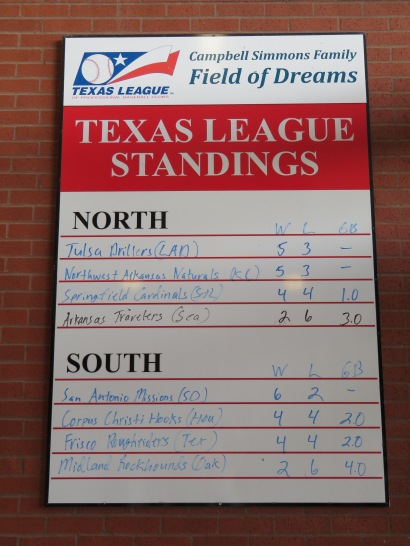 Texas League standings entering play on July 1.