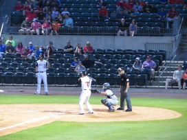 Arkansas Travelers first baseman Ryan Casteel at the plate in the bottom of the first inning.
