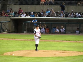 Arkansas Travelers starting pitcher Dylan Unsworth on the mound in the top of the second inning.