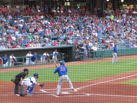 Left fielder Kyle Schwarber, and 2016 World Series hero, at the plate in the first inning.