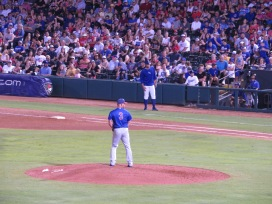 Iowa Cubs relief pitcher David Rollins on the mound.