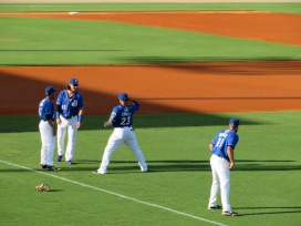 A group of Shuckers players warm up before the game.