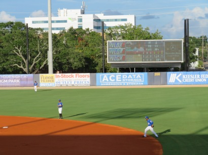A view of the secondary scoreboard with the Biloxi Shuckers in the field.