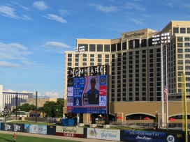 The videoboard with the Beau Rivage Resort & Casino in the background.