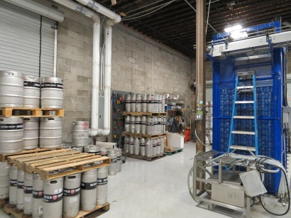 A view of kegs in the production area.