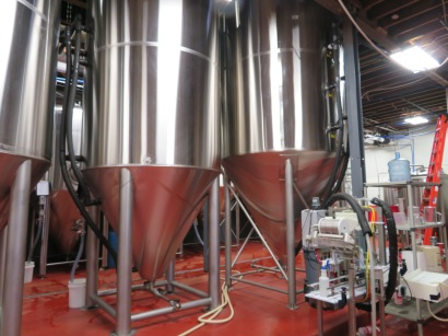 View of the fermentation tanks in the production area.