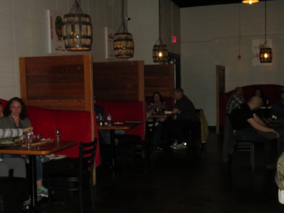 A view of the booths in the Speakeasy.