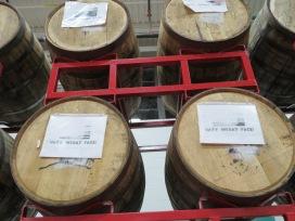 Beers aging in barrels.