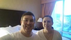 A snapshot of Katie & I in the bedroom.
