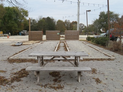 A view of the bocce courts.