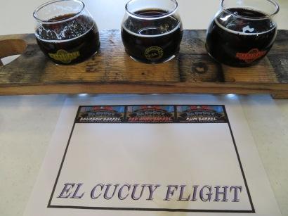 """A flight of the """"El Cucuy"""" beers."""
