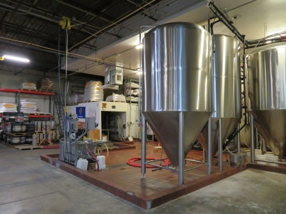 A view of the fermentation tanks.