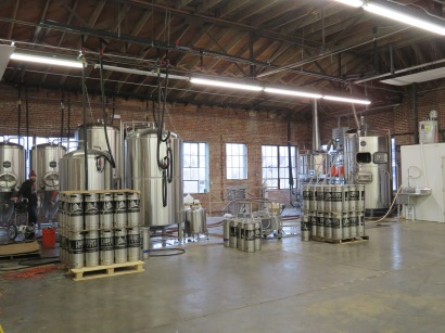 An overview of the production area of the brewery.