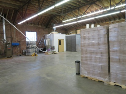A view of the storage area and the grain hopper.