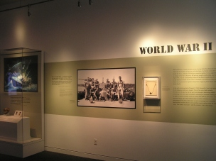 """Portion of """"Young Jack"""" special exhibit detailing the president's years in the Navy during World War II."""