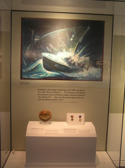 The coconut the president used to write a message that led to his rescue following the sinking of PT 109 in the Pacific Ocean.