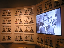 """The """"1960 Presidential Election"""" exhibit includes a replica TV studio showing predicted outcomes in each state."""