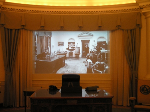 """""""The Oval Office"""" exhibit includes film footage of important civil rights events from 1963. In this snapshot, Kennedy address the country on June 11, 1963, about civil rights."""