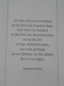 A quote featured in the Profile in Courage Plaza.