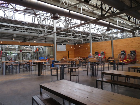 An overview of the seating in the taproom.