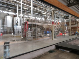 A view into the production side of the brewery.