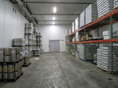 A peak inside the brewery's cold storage.