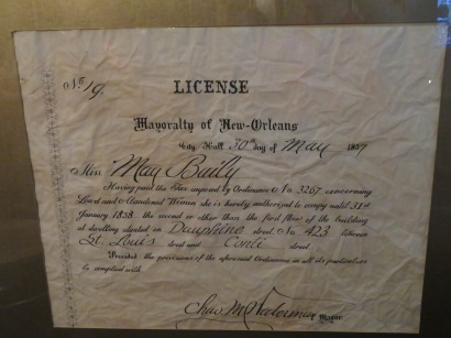 License issued to May Baily for the operation of her brothel.