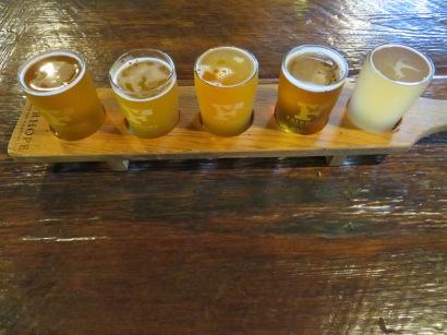 Katie's flight of beers.