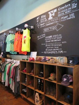 An overview of merchandise available at the brewery.