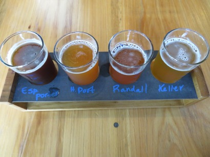 A flight of one-off beers.
