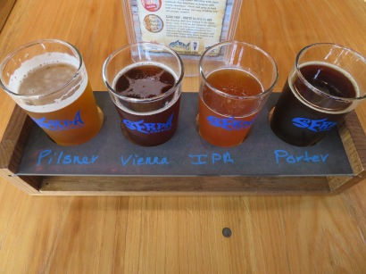 A flight of year-round beers.