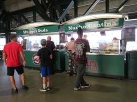 The portable Slugger Suds and Nacho Cantina stands behind home plate.