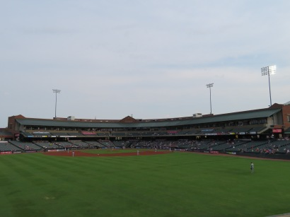 An overview of the seating bowl from center field.