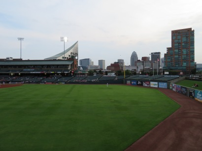 A glimpse of the downtown Louisville skyline from right field.