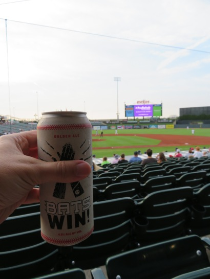 The front of Against the Grain Bats Win! beer can.