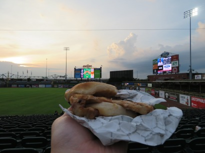 My grilled pork chop sandwich, which is one of the more unique food items at the ballpark.