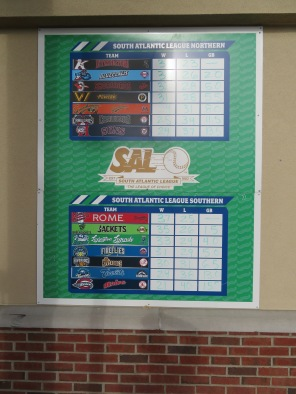 South Atlantic League standings entering play on June 12, 2018.