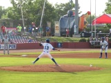 Lexington Legends right-handed pitcher Janser Lara pitching during the game.