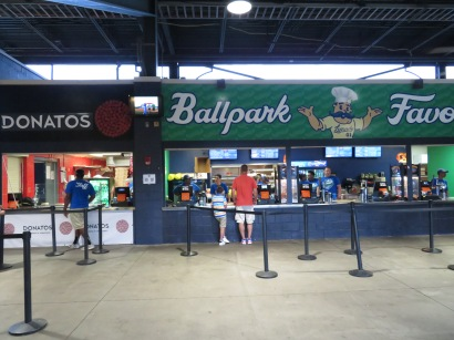 An overview of Donatos Pizza and the Ballpark Favorites concession stands.