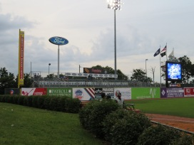 A view of the bleachers in left field and the visitors bullpen.