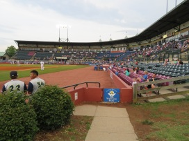 An overview of the seating bowl from the visitors bullpen.